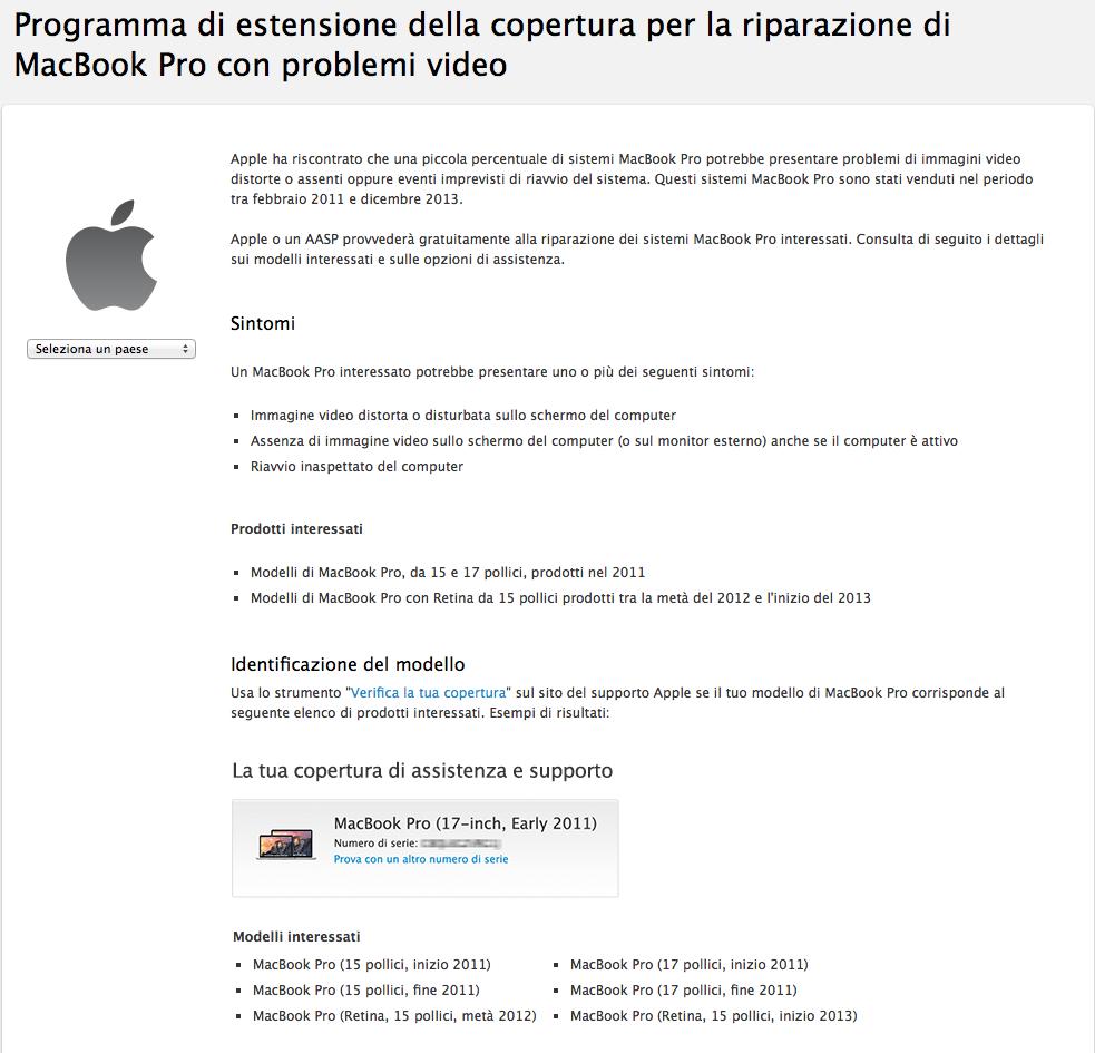 MacBook Pro con problemi video
